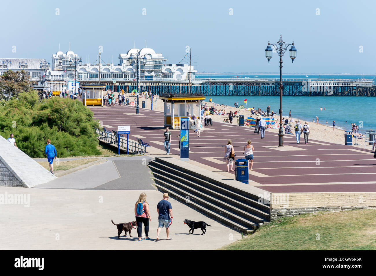 Seafront and South Parade Pier, Clarence Esplanade, Southsea, Portsmouth, Hampshire, England, United Kingdom Stock Photo