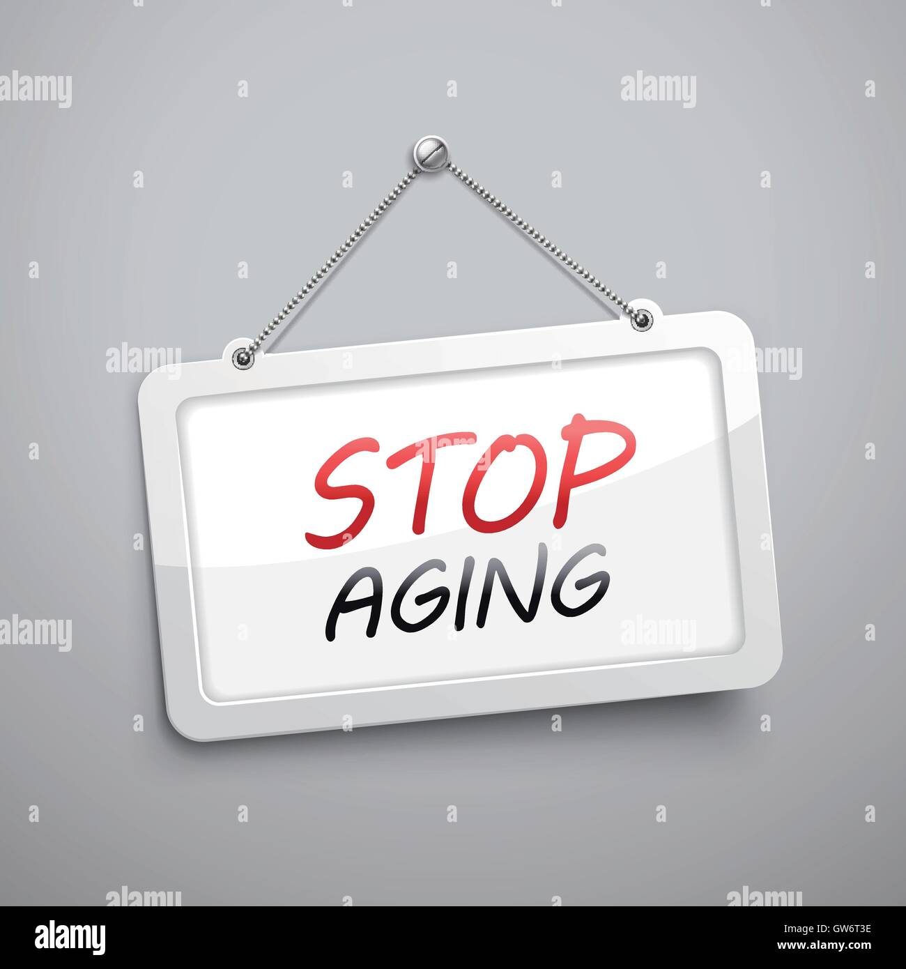 stop aging hanging sign, 3D illustration isolated on grey wall - Stock Vector