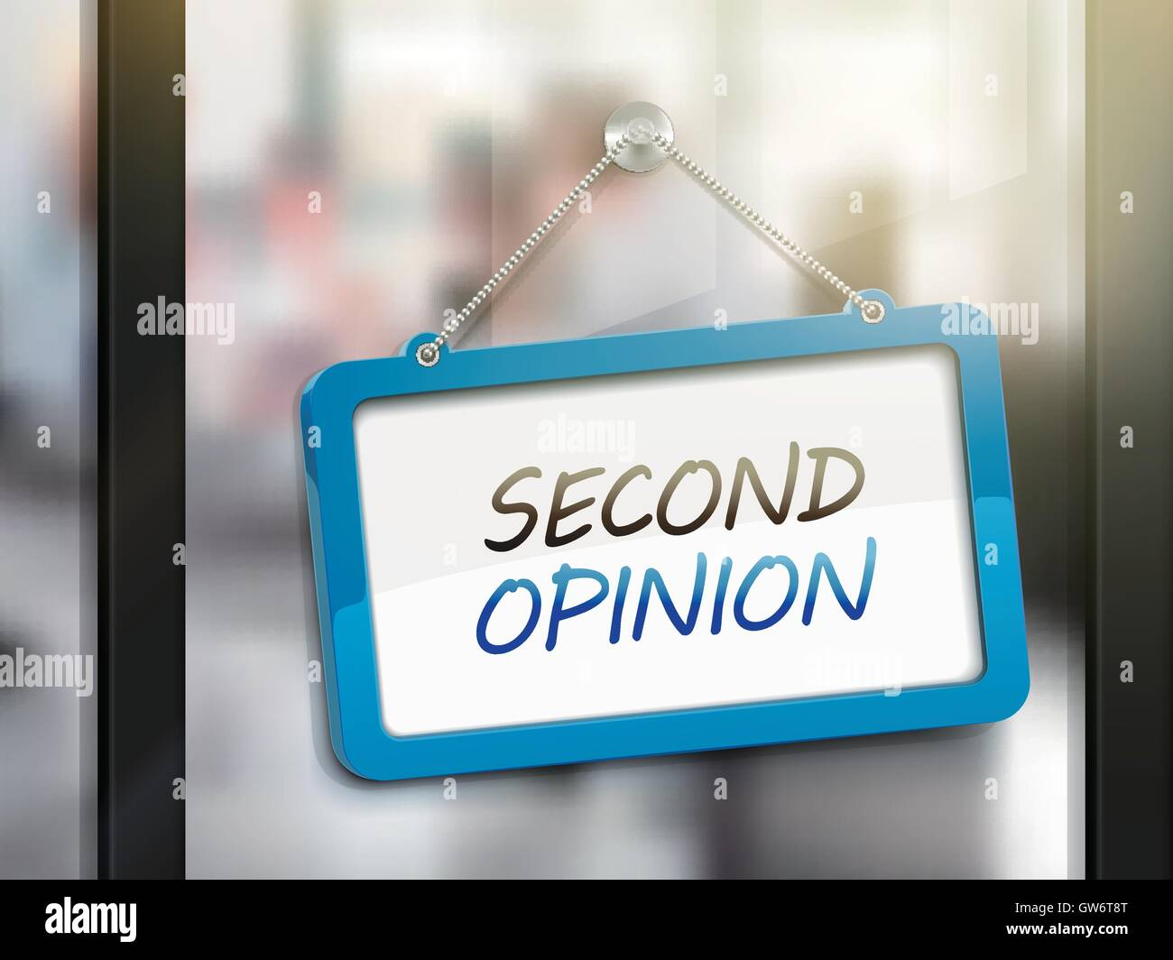second opinion hanging sign, 3D illustration isolated on office glass door - Stock Vector