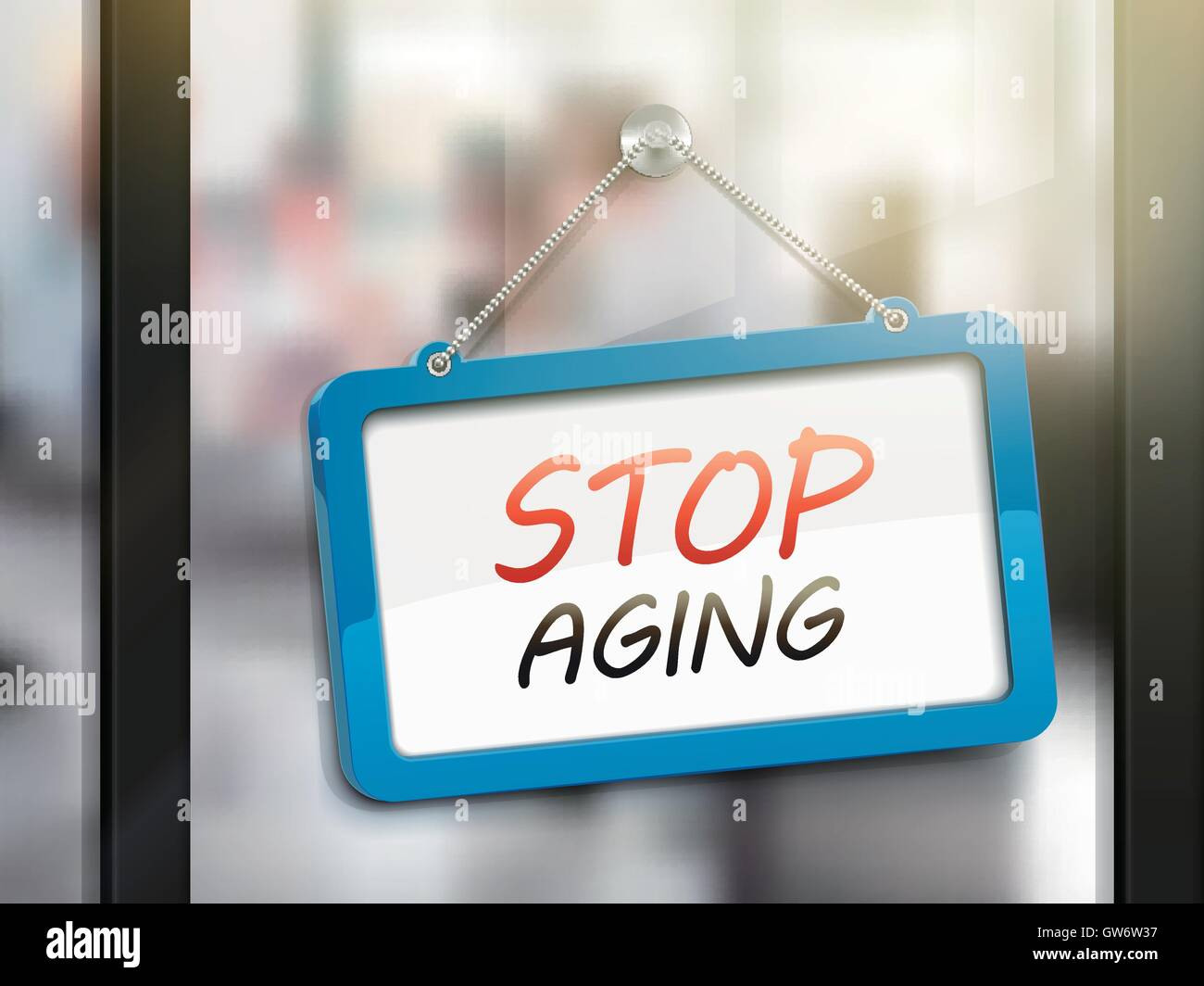 stop aging hanging sign, 3D illustration isolated on office glass door - Stock Vector