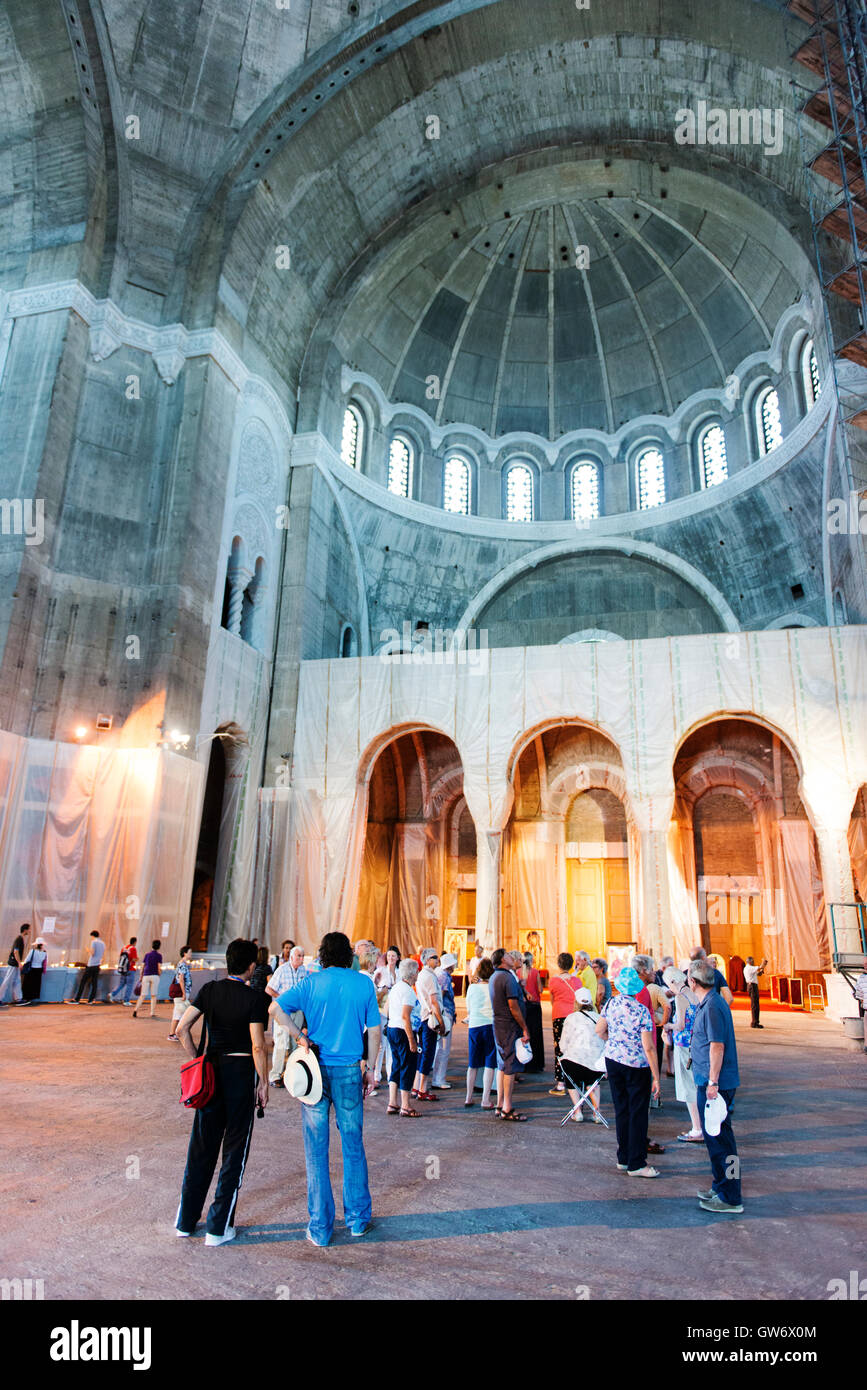 Interior of the incomplete Church of Saint Sava, an Orthodox church, one of the largest churches in the world. - Stock Image