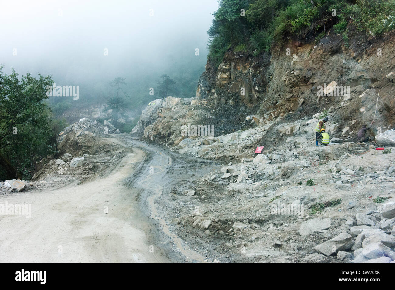 Road widening project between Bumthang and Trongsa. - Stock Image