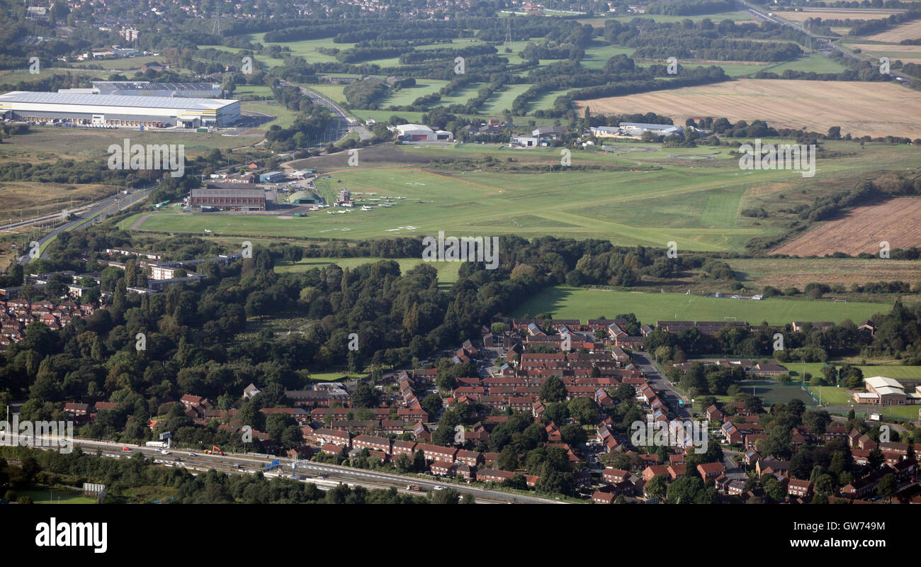 aerial view of Manchester City Airport also known as Barton Aerodrome, UK - Stock Image