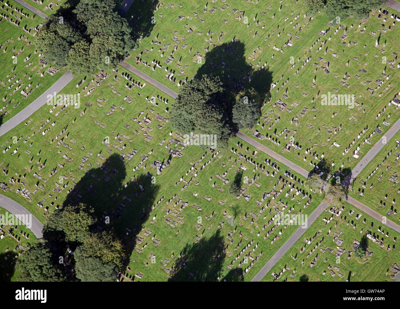 aerial view of a graveyard cemetery in the UK - Stock Image