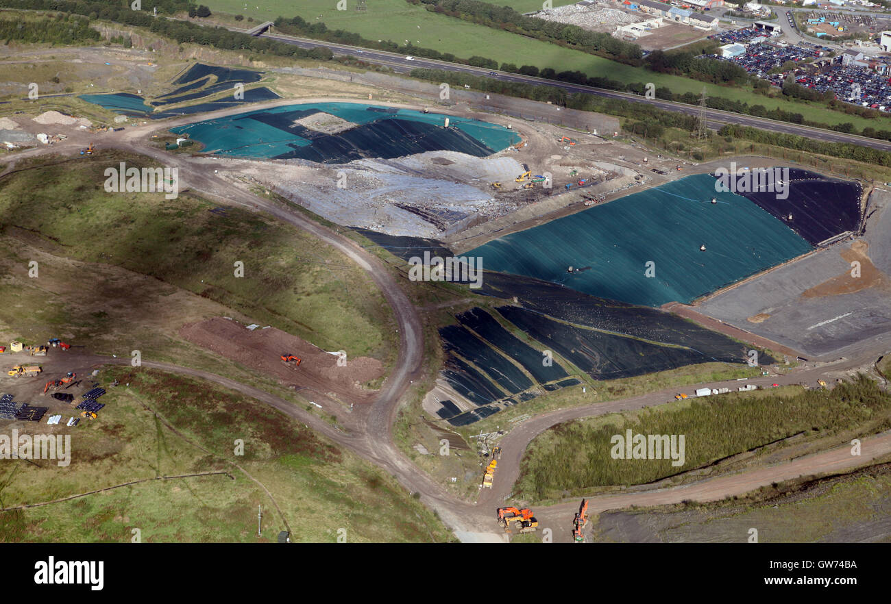 aerial view of landfill site ion Lancashire, UK - Stock Image