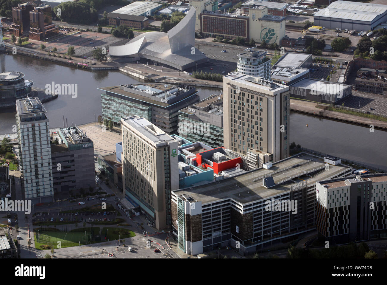 aerial view of the BBC Studios at MediaCity Salford Quays, Manchester, UK - Stock Image