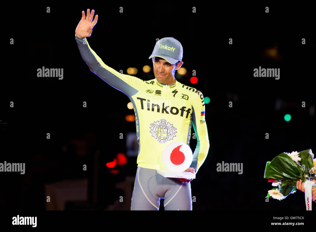 Madrid, Spain. 11th September, 2016. Alberto Contador (Tinkoff) like most combative at final podium of 21st stage - Stock Image