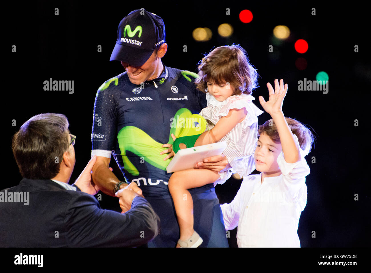 Madrid, Spain. 11th September, 2016. Alejandro Valverde (Movistar Team) like fair play winner at final podium of - Stock Image