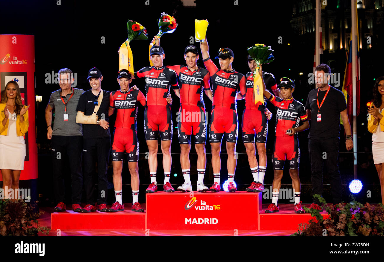 Madrid, Spain. 11th September, 2016. BMC cyclist like winner of teams at final podium of 21st stage of cycling race - Stock Image