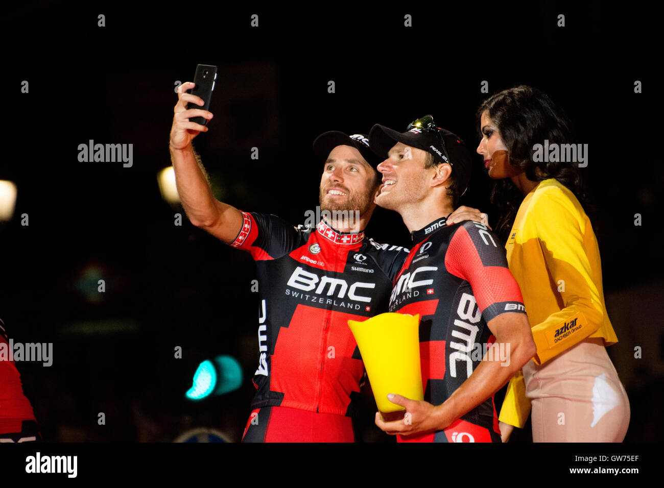 Madrid, Spain. 11th September, 2016. Two cyclists of BMC take a selfie at final podium of 21st stage of cycling - Stock Image