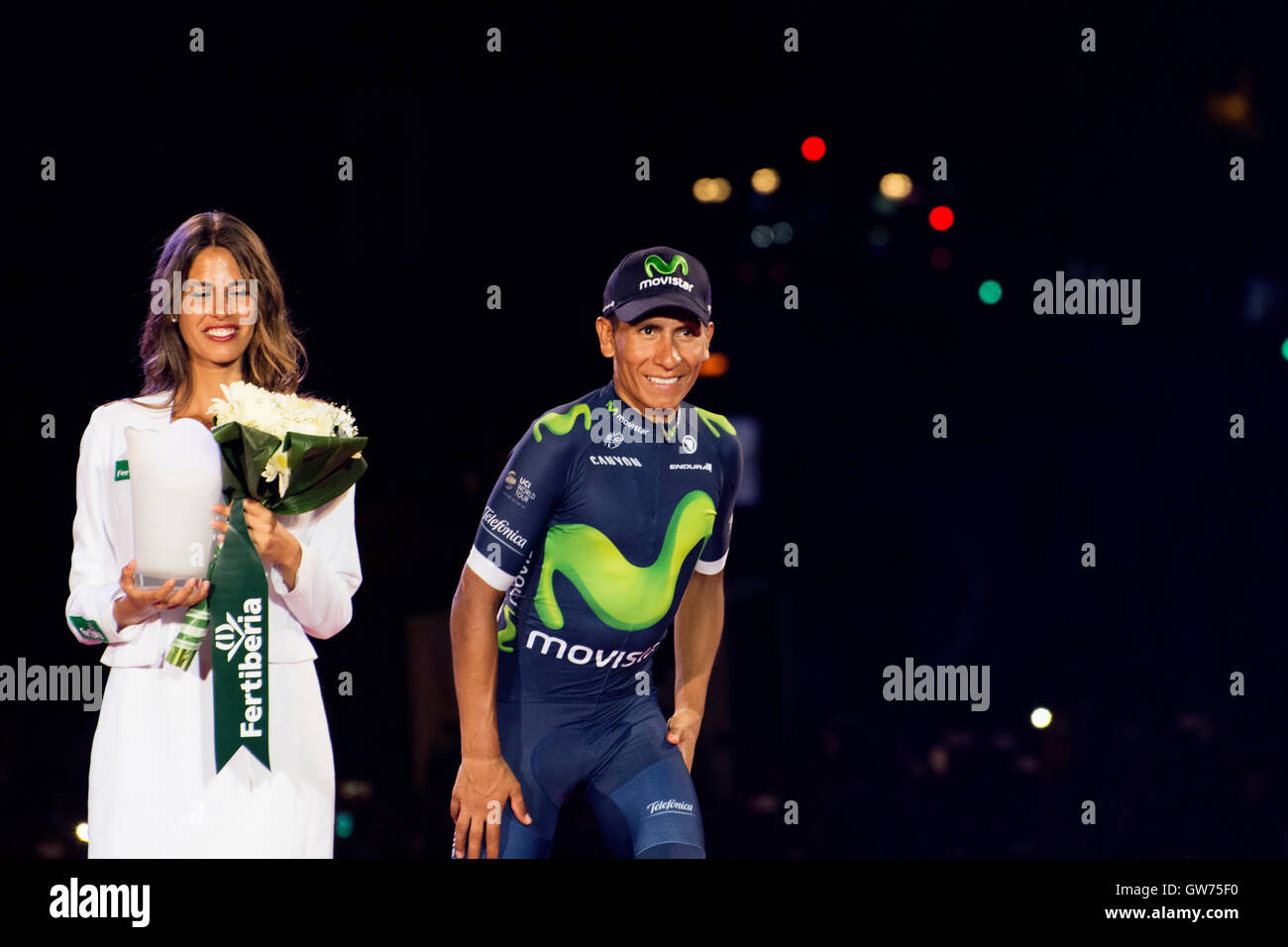 Madrid, Spain. 11th September, 2016. Nairo Quintana (Team Movistar) like winner of combinate at final podium of - Stock Image