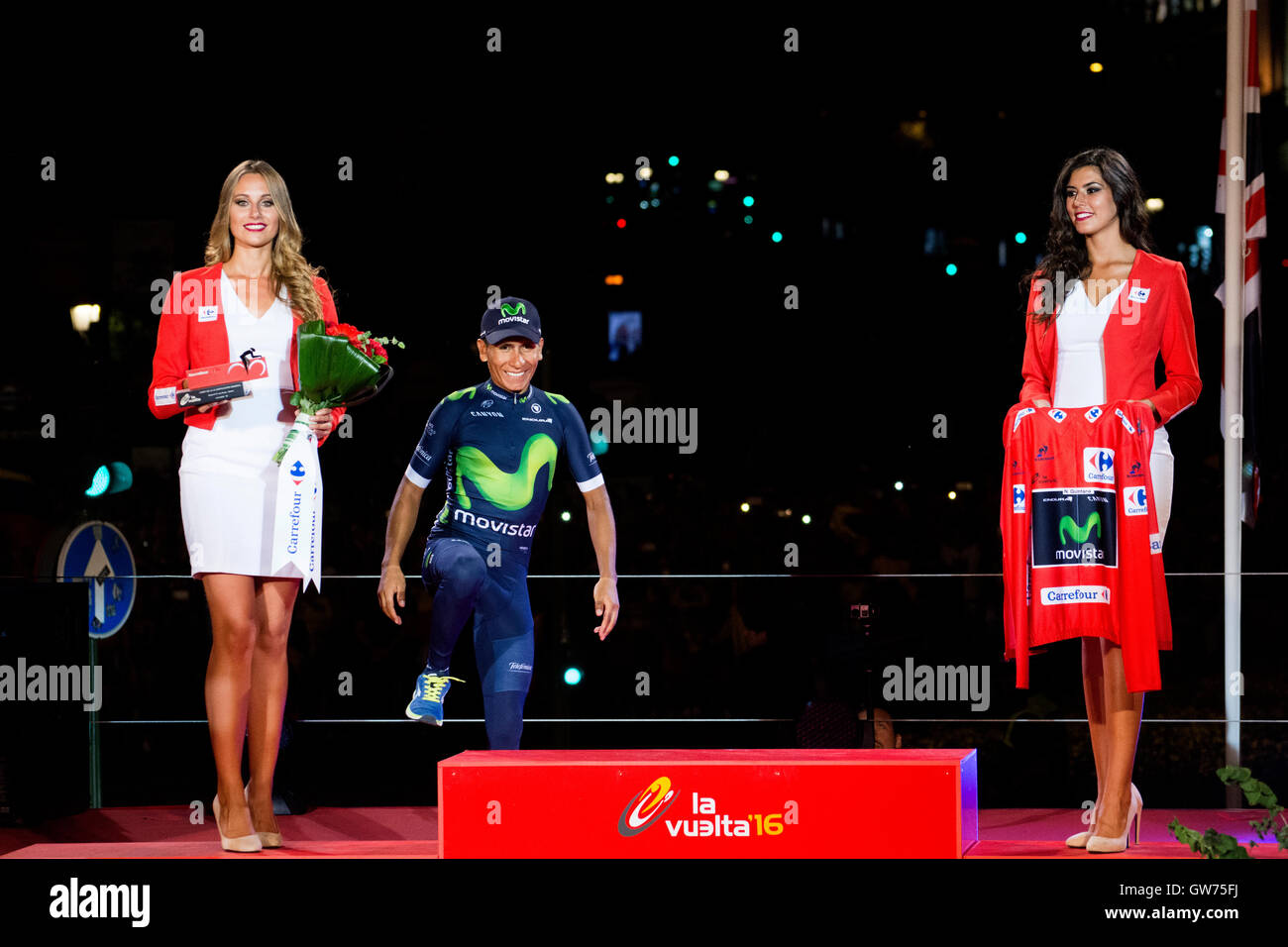 Madrid, Spain. 11th September, 2016. Nairo celebrates his victory at final podium of 21st stage of cycling race Stock Photo