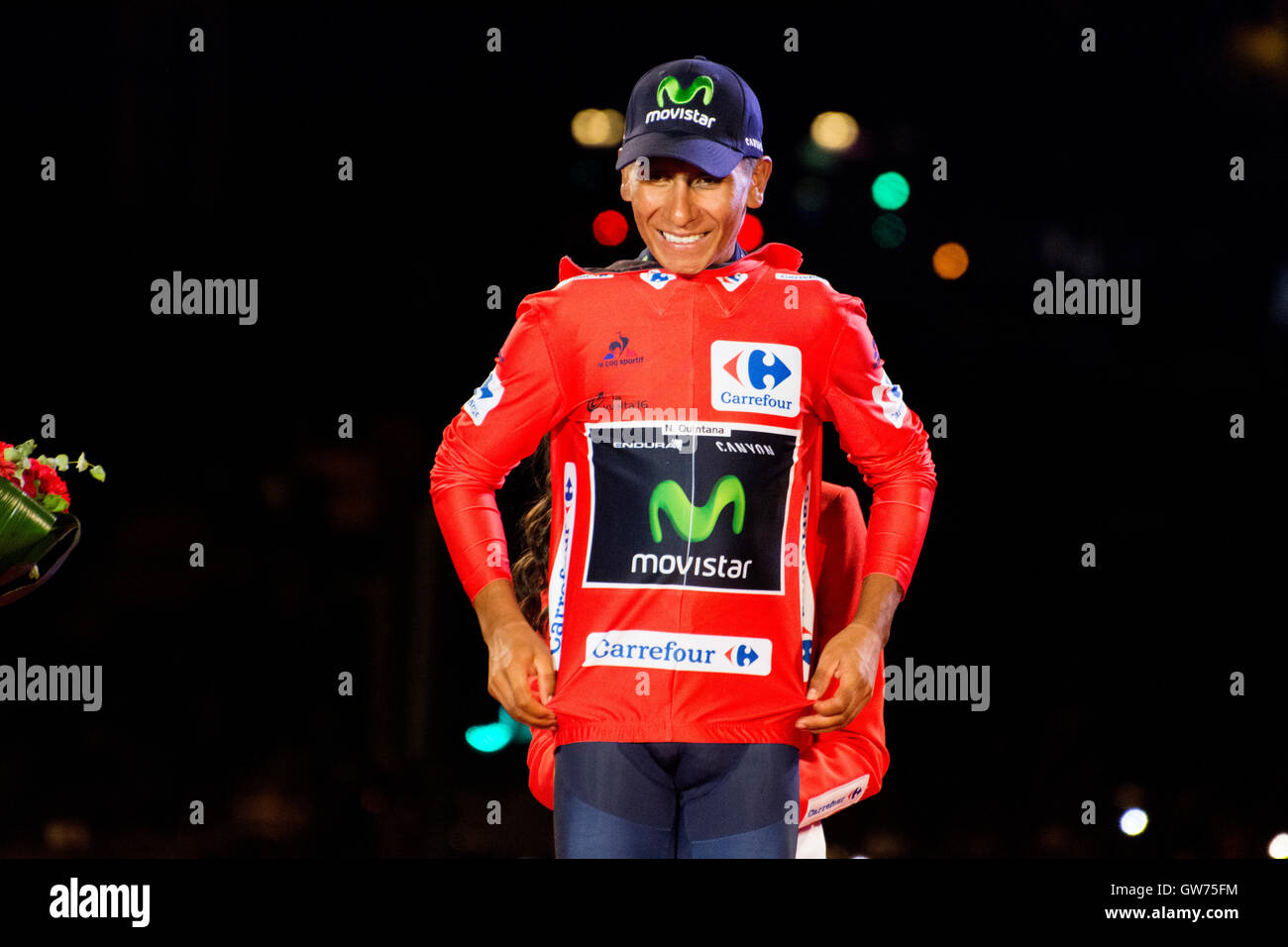 Madrid, Spain. 11th September, 2016. Nairo celebrates his victory at final podium of 21st stage of cycling race - Stock Image