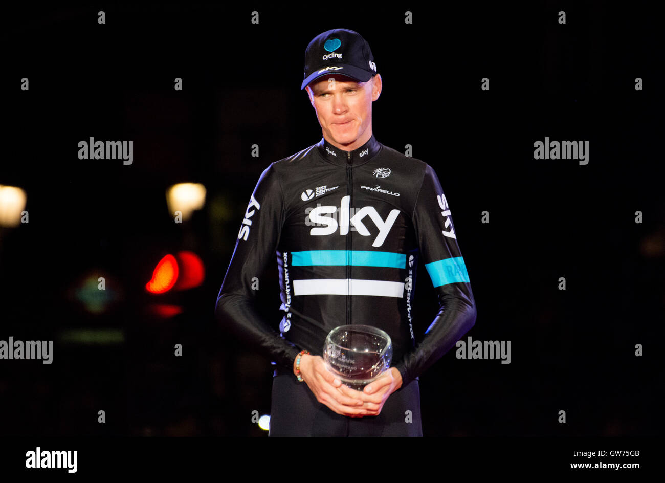 Madrid, Spain. 11th September, 2016. Chris Froome (Team Sky) with the trophee like second at final classification - Stock Image