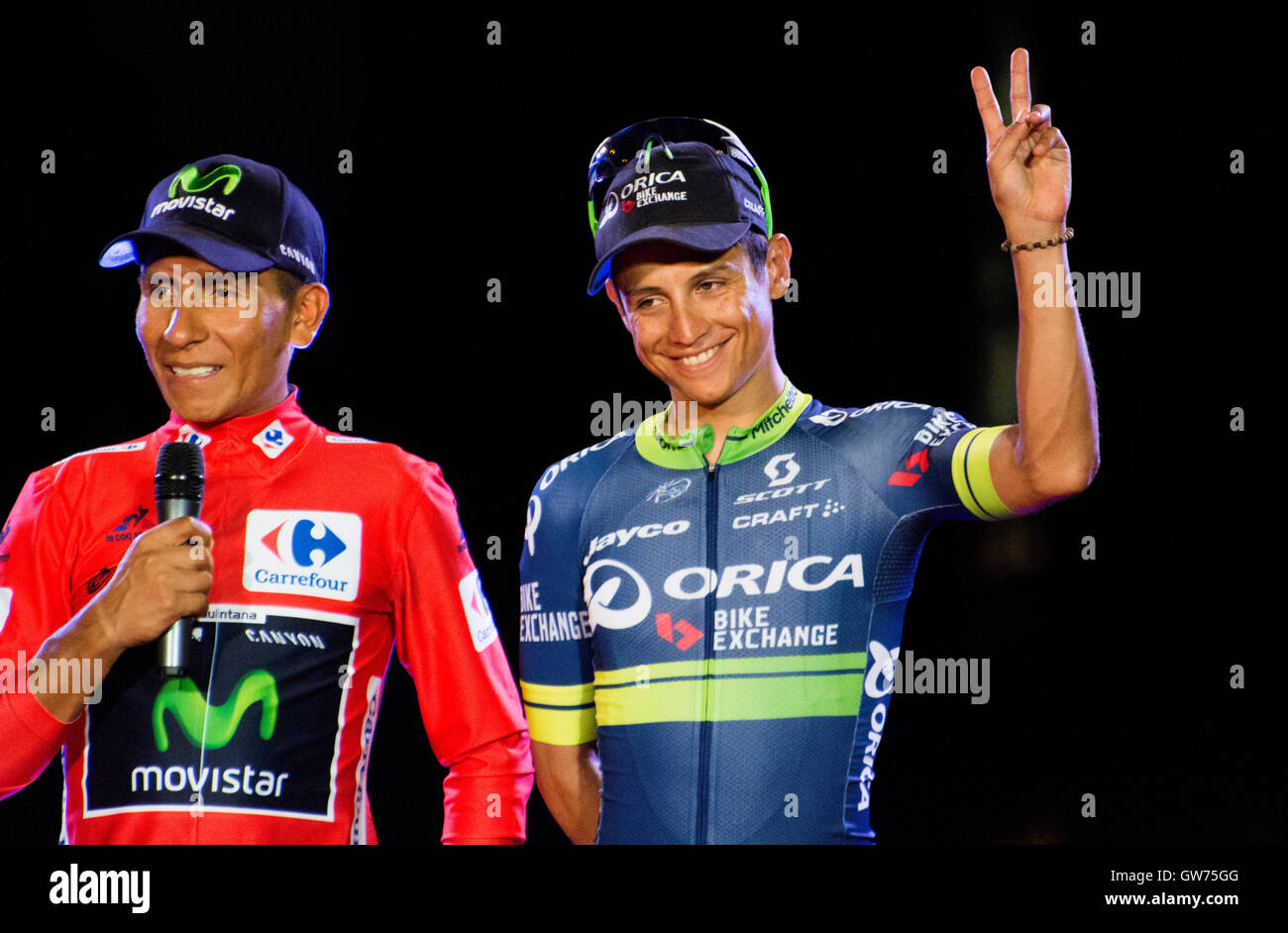 Madrid, Spain. 11th September, 2016. Nairo Quintana (1st, Movista Team) and Esteban Chaves (3rd, Orica) with kids - Stock Image