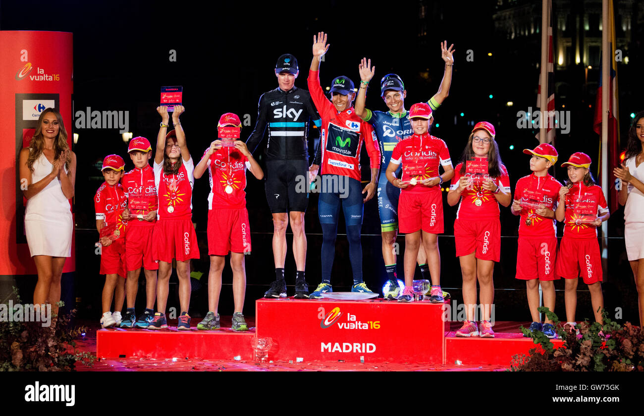 Madrid, Spain. 11th September, 2016. Chris Froome (2nd, Team Sky), Nairo Quintana (1st, Movista Team) and Esteban - Stock Image