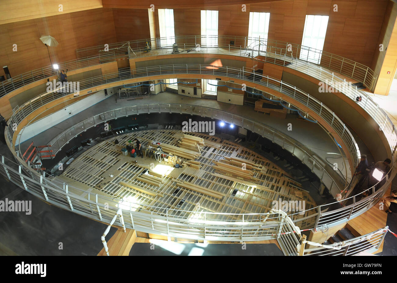 Berlin, Germany. 12th Sep, 2016. Workers work in the Pierre Boulez Saal in the Barenboim-Said Music Academy in Berlin, - Stock Image