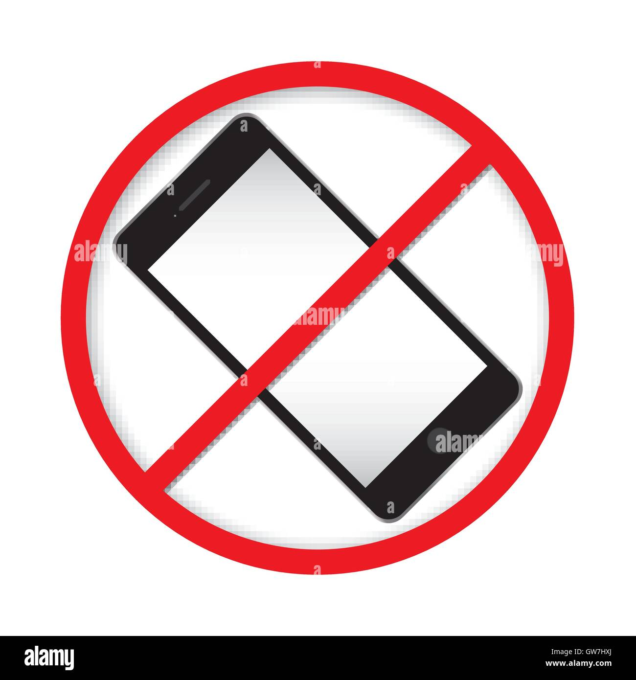 No Cell Phone Sign Icon White Call Mobile Illustration Red