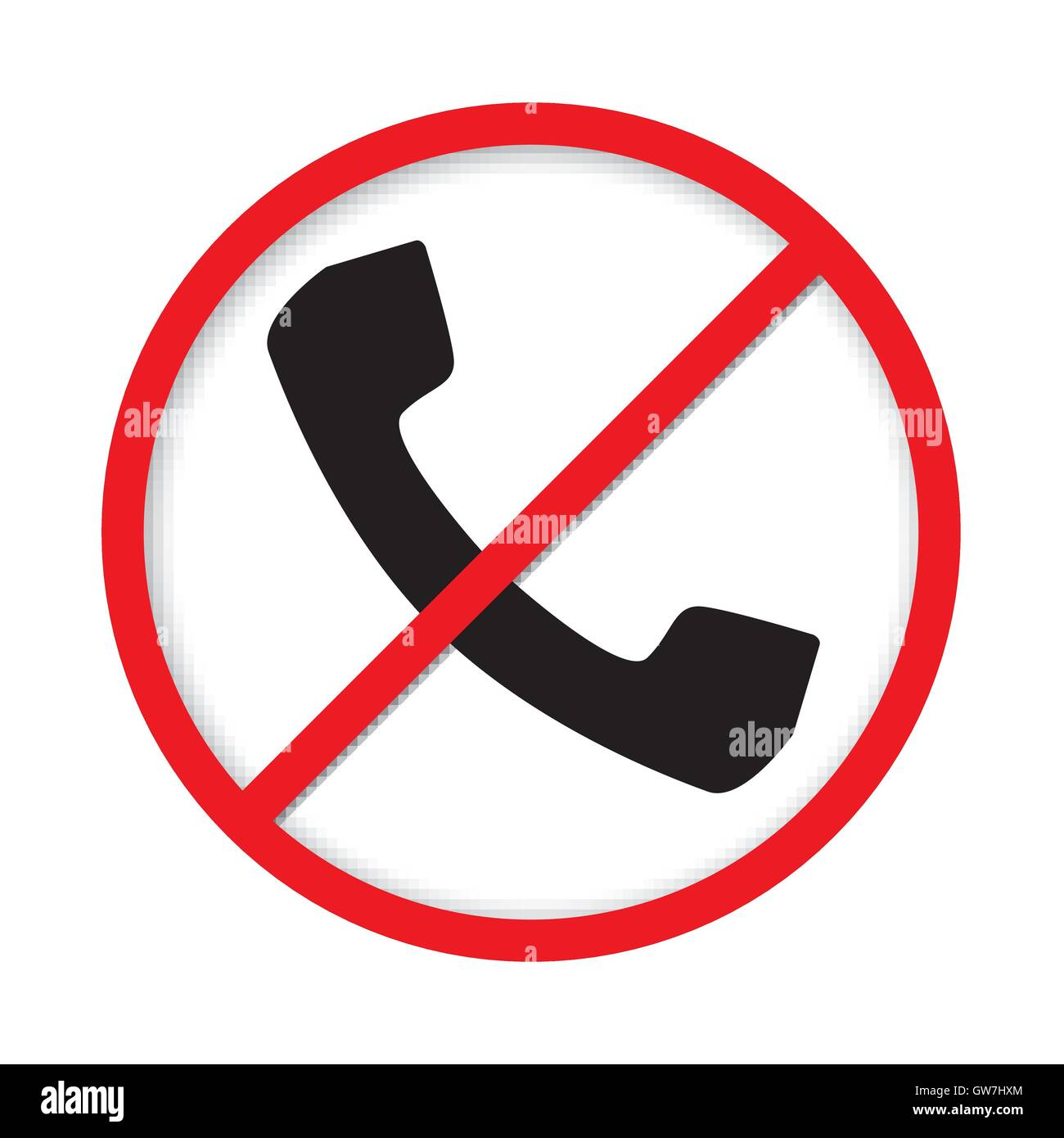 no cell phone sign icon white call mobile illustration red stop caution symbol vector forbidden communication