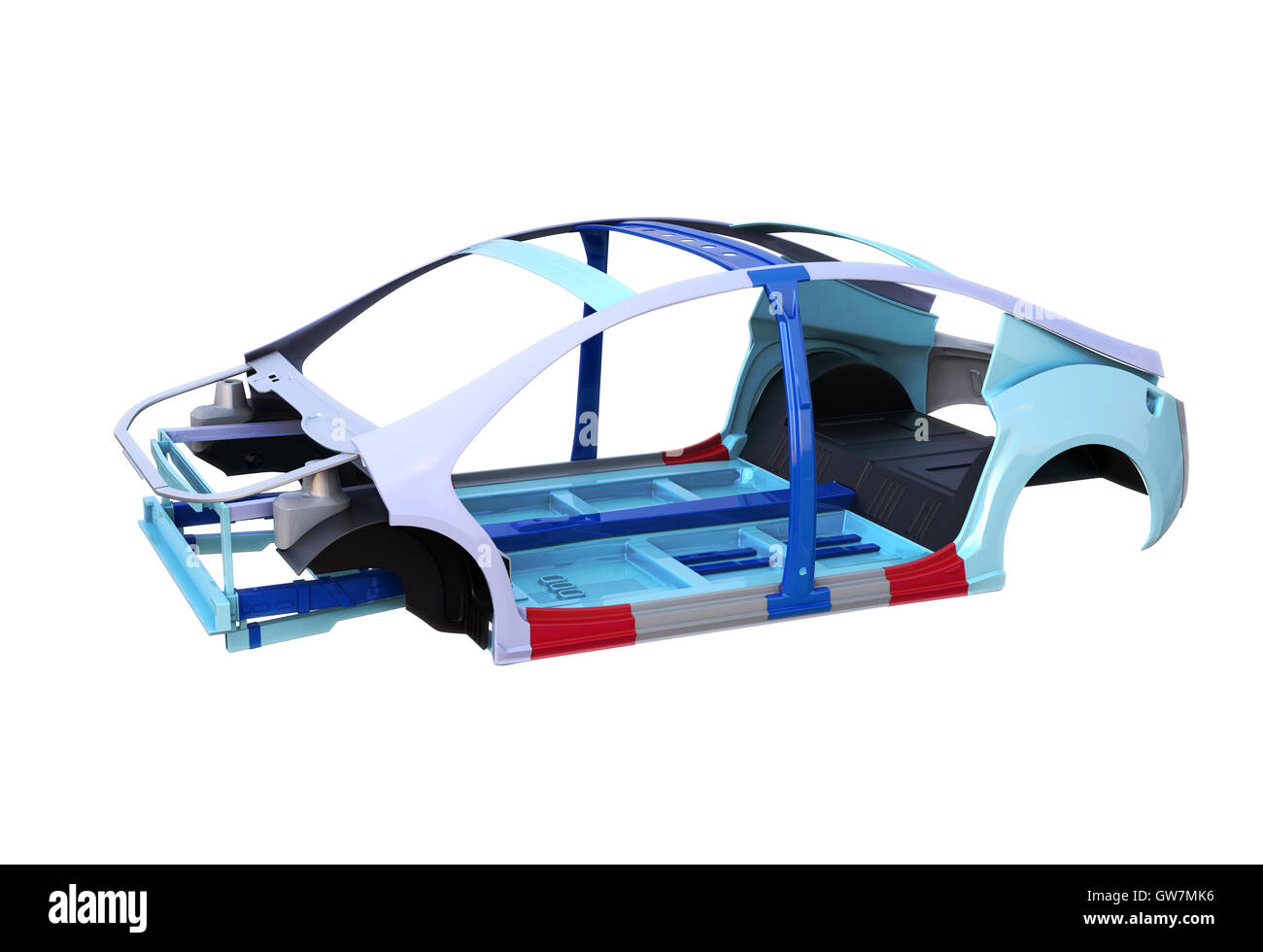 Electric vehicle body and frame  isolated on white background. 3D rendering image. - Stock Image