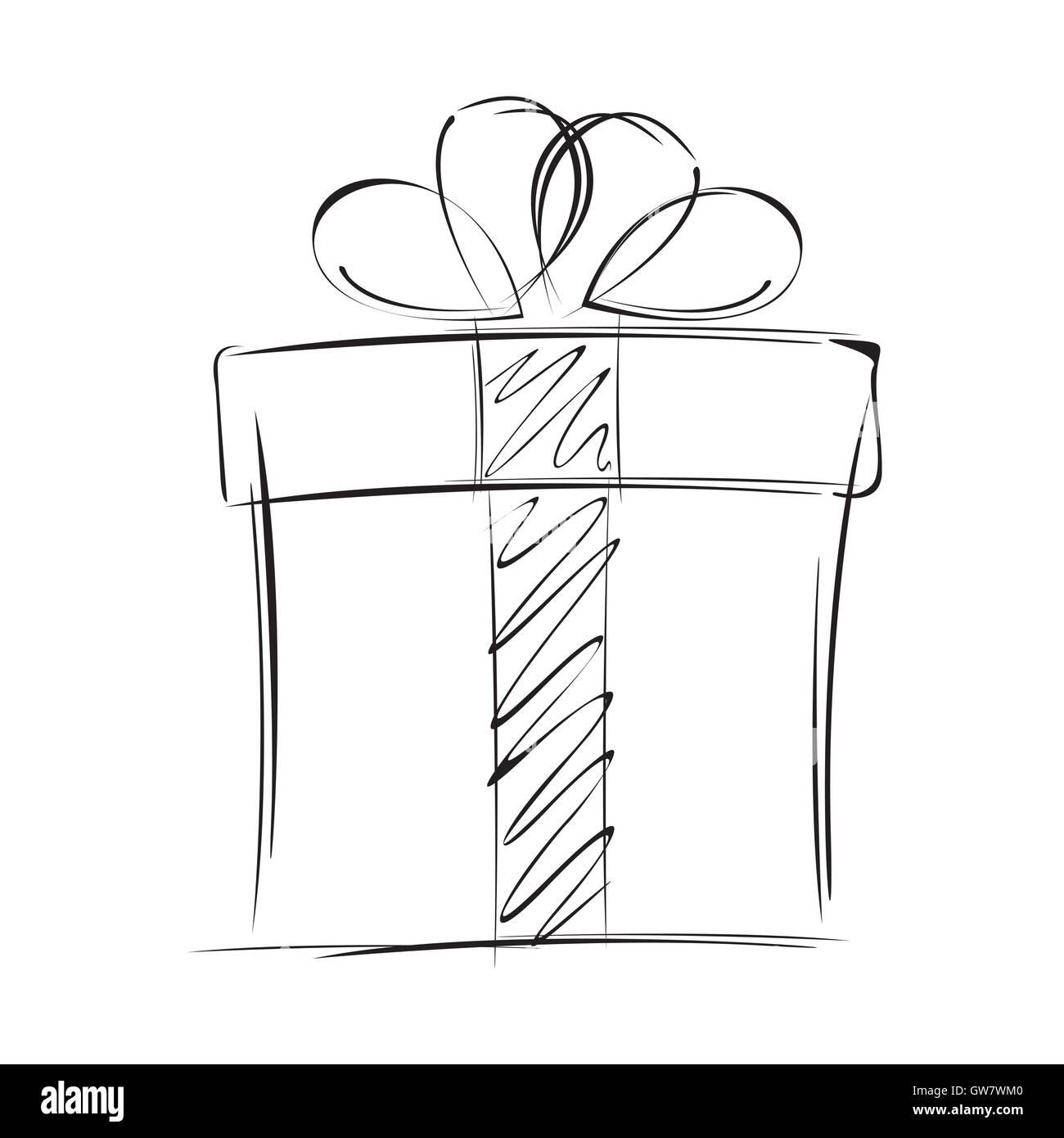 Christmas Gift Box Drawing.Gift Box Vector Christmas Gift Design Illustration
