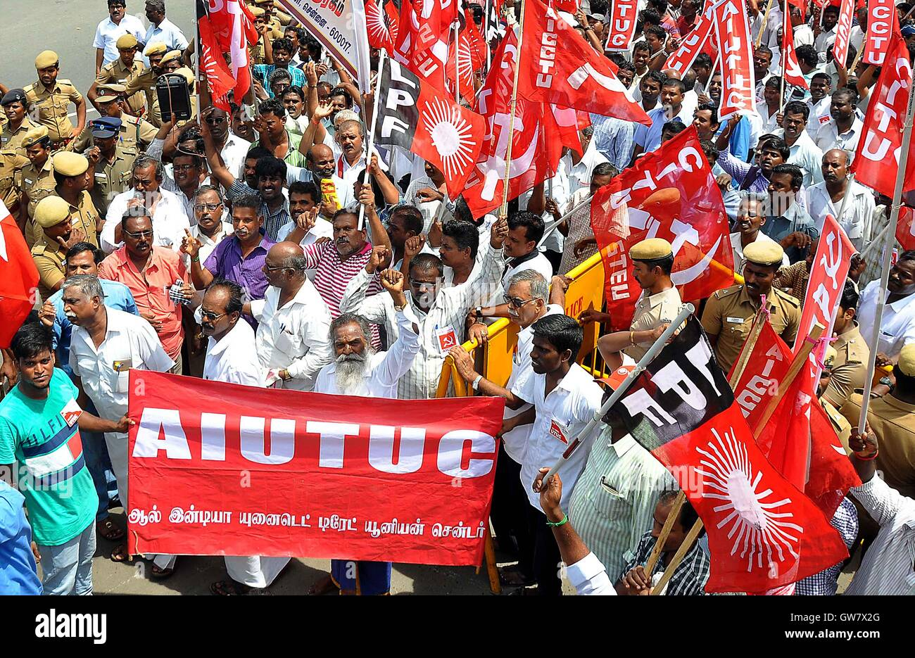 Trade union activists protest during a nationwide strike in Chennai, India on September 2, 2016. Trade unions demanded - Stock Image