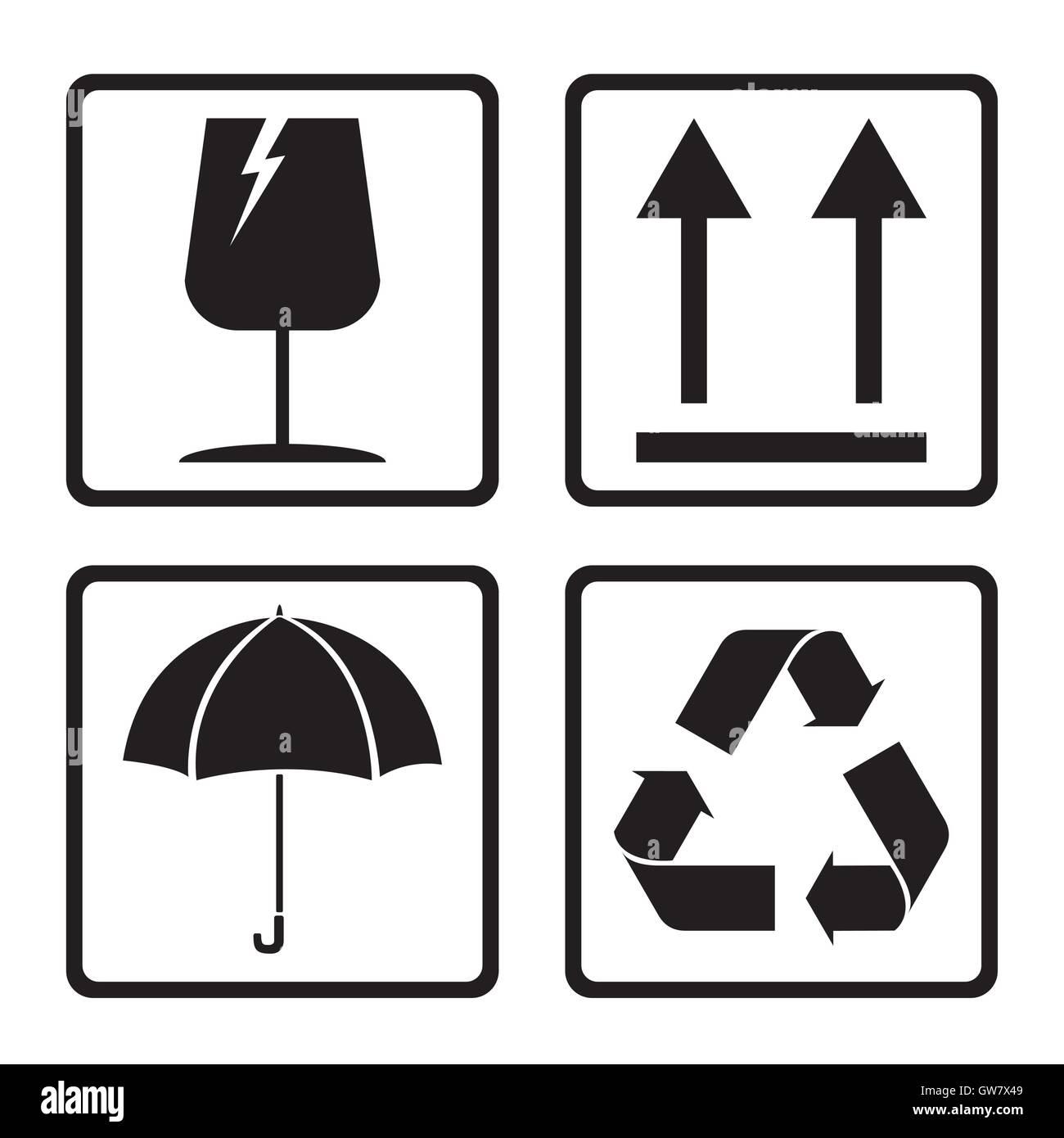 fragile box icon cardboard vector symbol sticker care stock