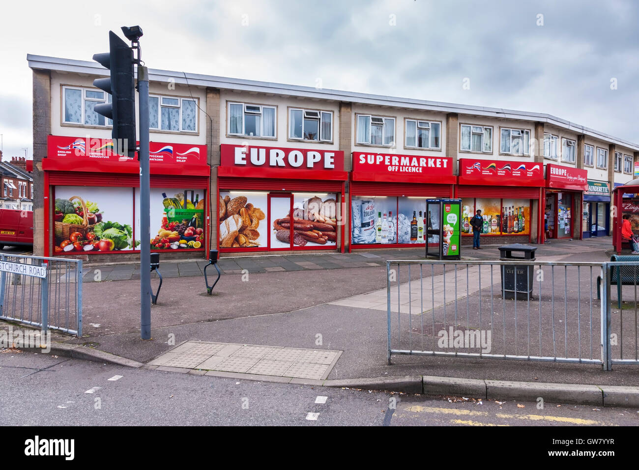Europe supermarket and off license on the corner of Wellingborough and Christchurch road Northampton. - Stock Image