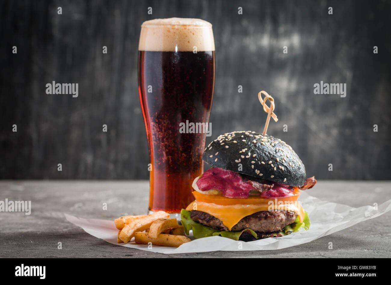 Gourmet black burger Stock Photo