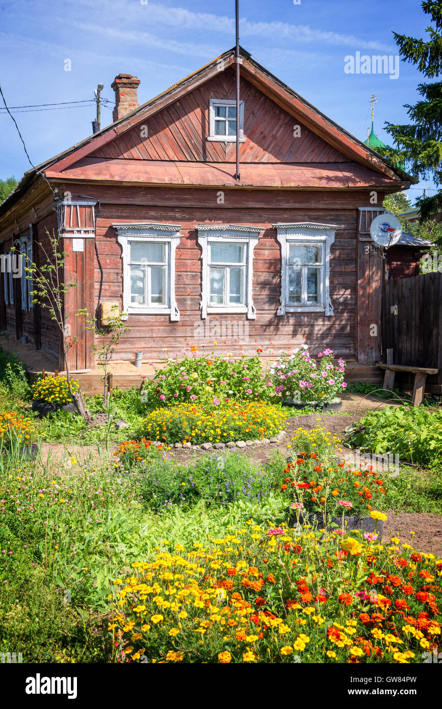 Traditional wooden house in Rostov, Golden ring,  Russia - Stock Image