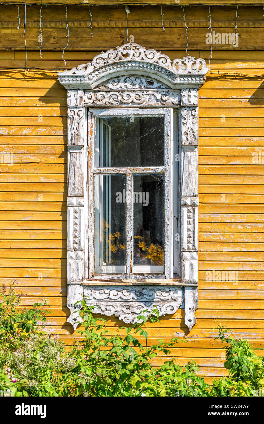 Detail of a window of a traditional wooden house in Rostov, Golden ring,  Russia - Stock Image
