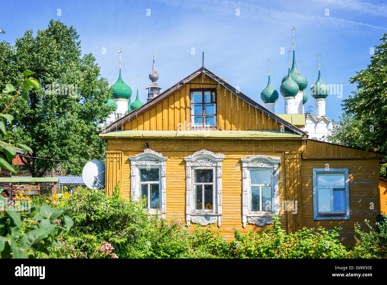 Colorful traditional wooden house in Rostov, Golden ring,  Russia - Stock Image