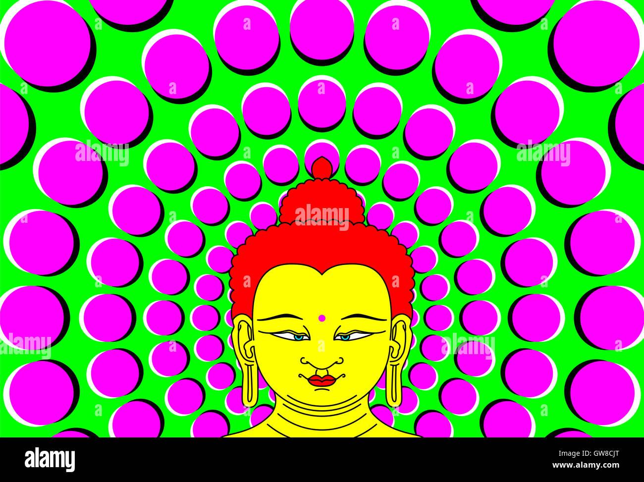 Psychedelic Buddha with moving background. Transcendent Bodhisattva illustration with peripheral drift optical illusion. - Stock Image