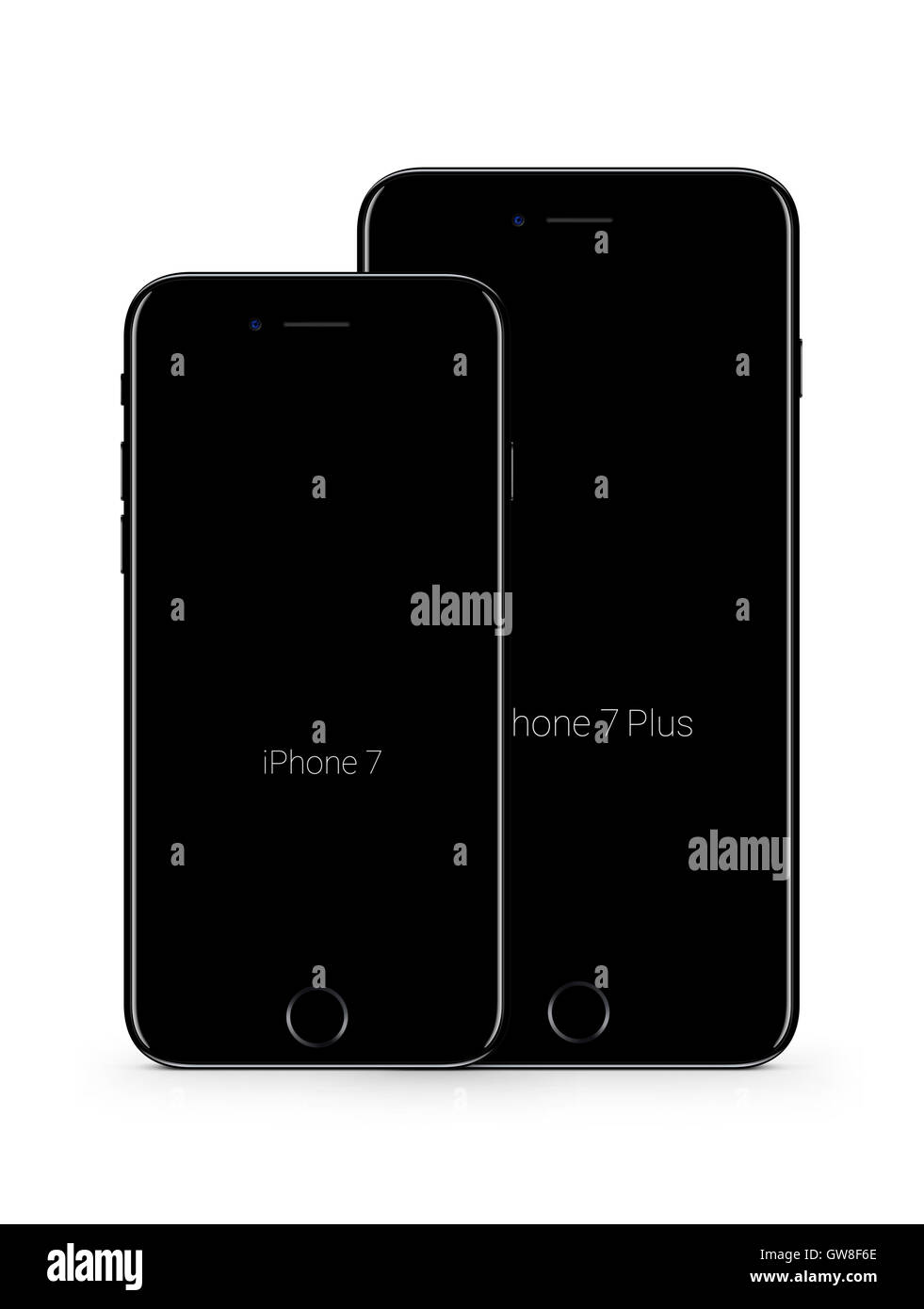 Digitally generated image of new cell phone, iphone 7 and iphone 7 plus. - Stock Image
