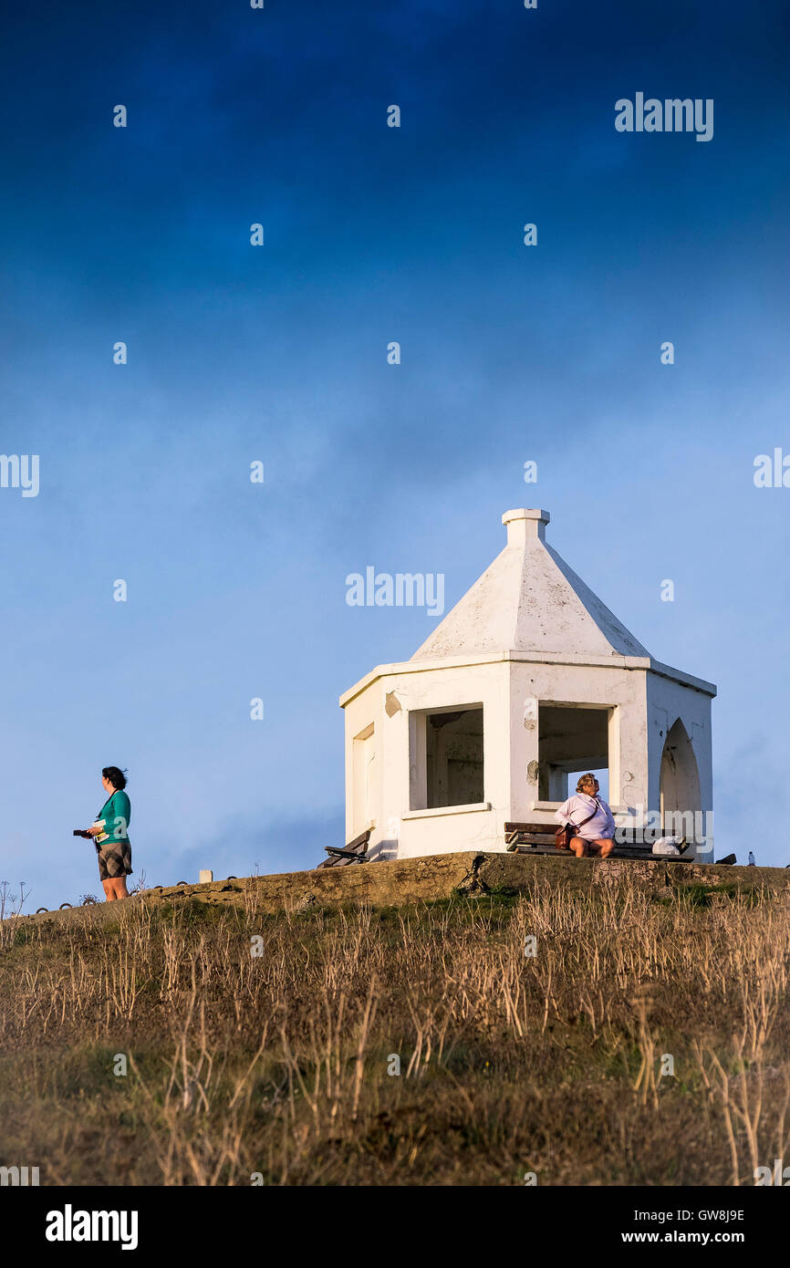 Holidaymakers visit the Lookout on top of Towan Head in Newquay, Cornwall. - Stock Image
