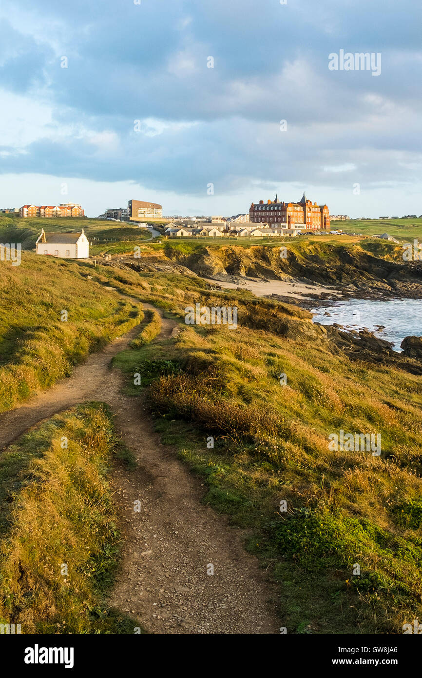 Footpaths on Towan Head in Newquay, Cornwall. - Stock Image