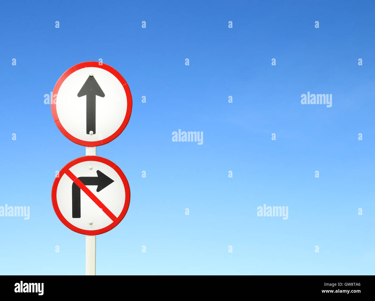 go ahead the way ,forward sign and don't turn right sign - Stock Image