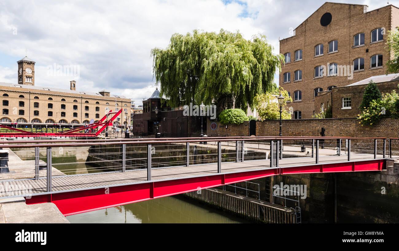 Red Bascule Footbridge At Entrance To St Katharine Docks