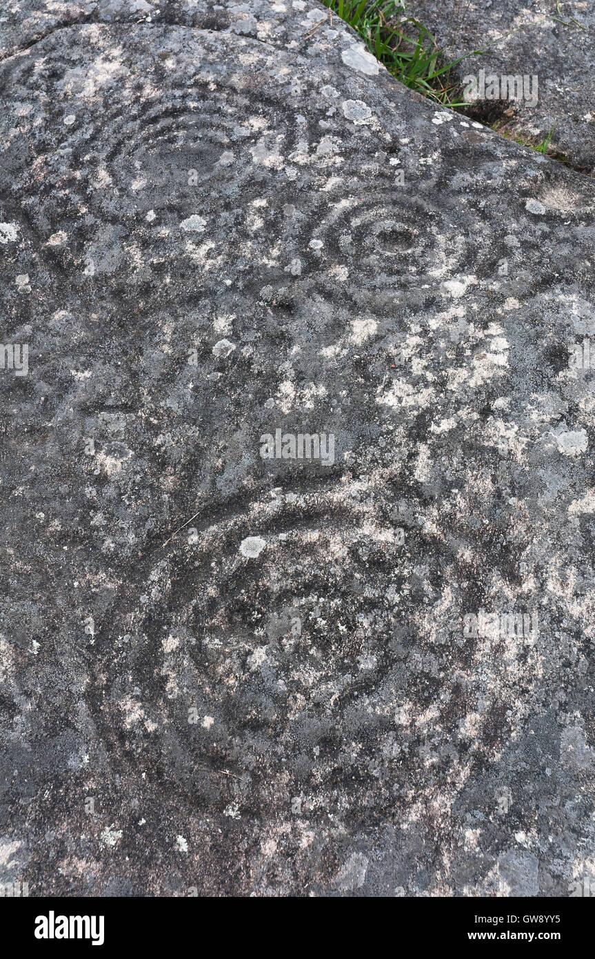 Petroglyphs of Mogor- from 3000 to 2000 BC, Marin, Pontevedra province, Region of Galicia, Spain, Europe - Stock Image