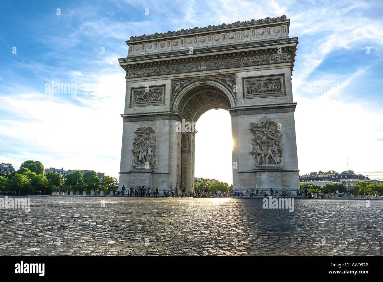 Beautiful sunset over Arc de Triomphe at Place de l'Etoile, Paris, France Stock Photo