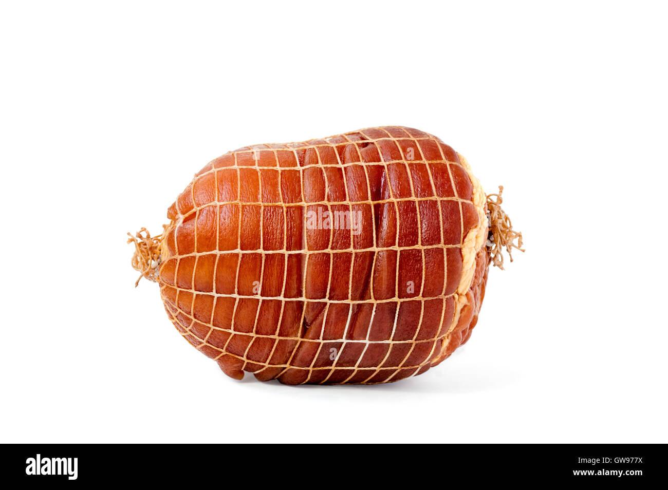 Smoked boneless pork ham hock wrapped in netting isolated on white - Stock Image