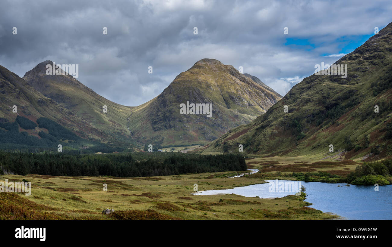 Early autumn in Glen Etive in the Scottish Highlands - Stock Image
