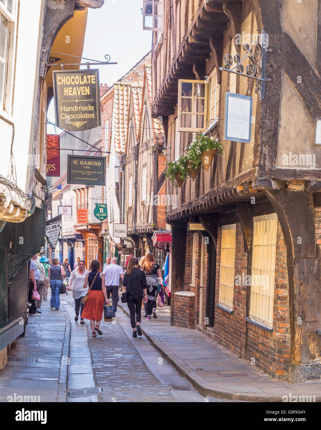The Shambles is an ancient street in York, England, which has overhanging timber-framed buildings, originally butchers' - Stock Image
