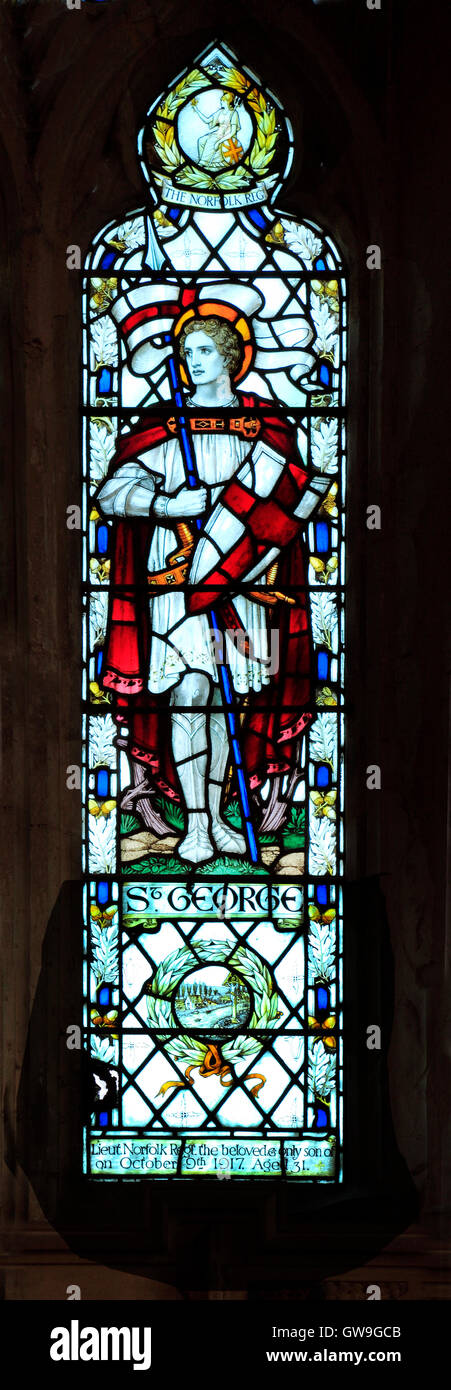 Cley next the Sea, Norfolk.  St. George, stained glass window by J. Powell & Sons, 1917, Arts and Crafts style - Stock Image