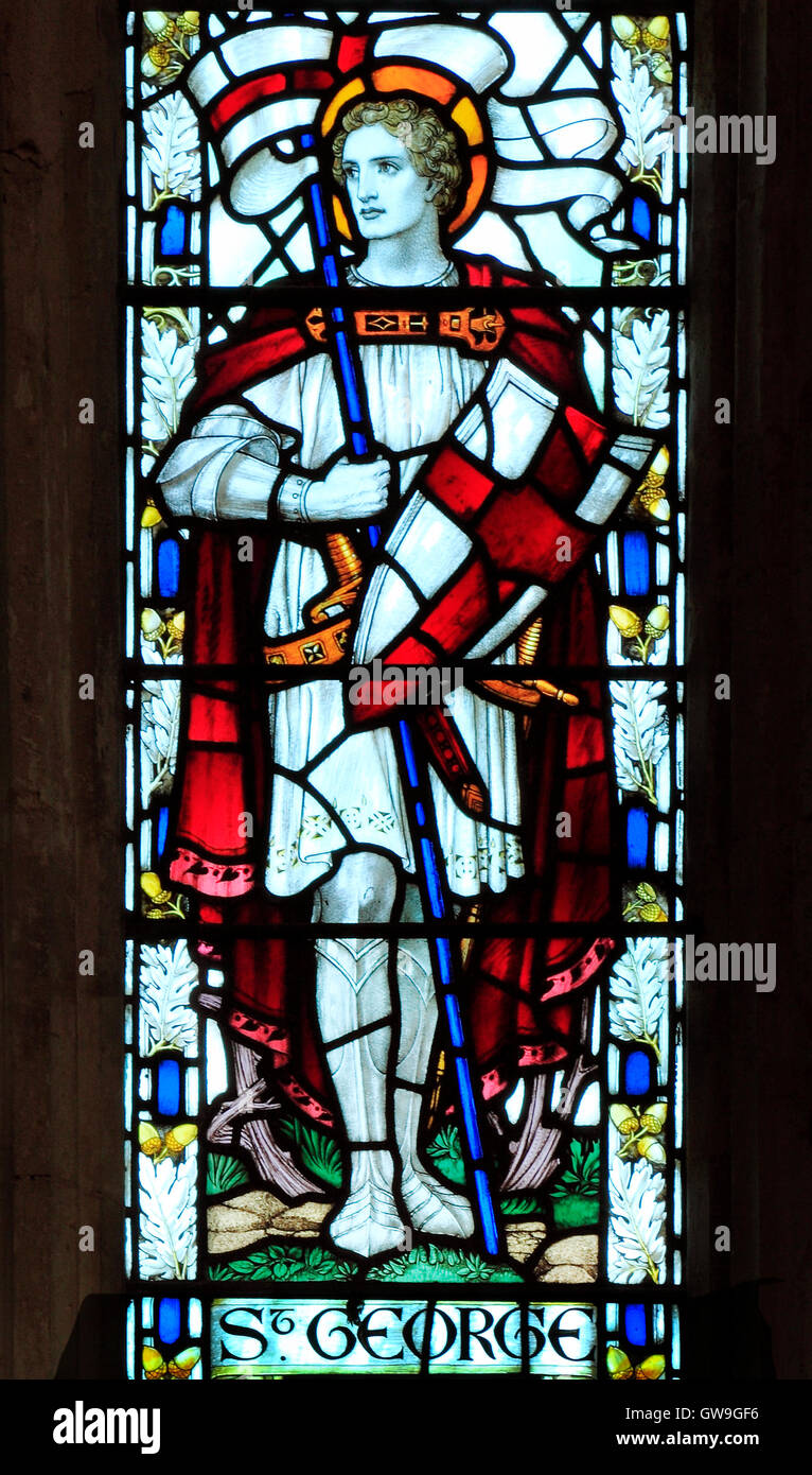 Cley next the Sea, Norfolk.  St. George, stained glass window by J. Powell & Sons, 1917, Arts and Crafts style, - Stock Image