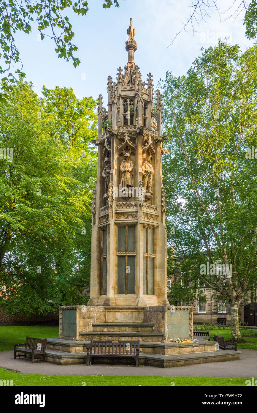 Octagonal ornate Boer War Memorial (1905) in Duncombe Place near York Minster, York, England. - Stock Image