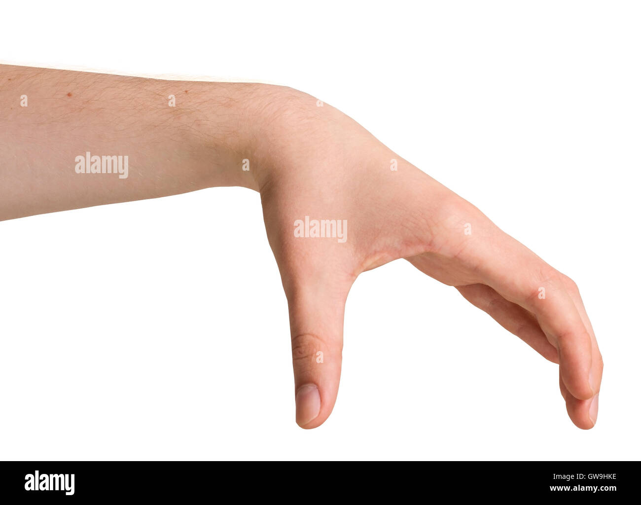 Isolated Male Hand in a Position - Stock Image