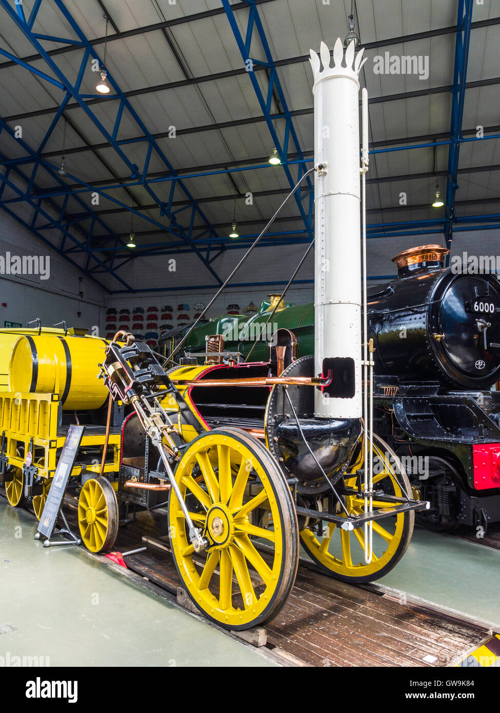 A working replica of Stephenson's 'Rocket' 0-2-2 early steam locomotive, seen at National Railway Museum, - Stock Image