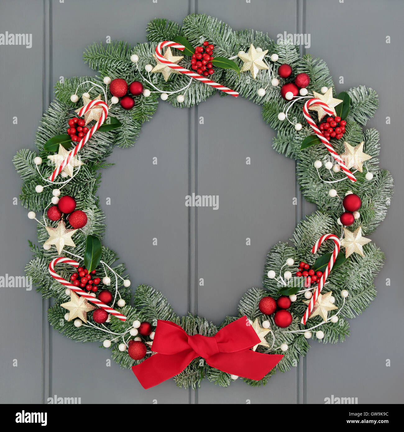Advent And Christmas Wreath Decoration With Candy Canes Red Baubles Stock Photo Alamy