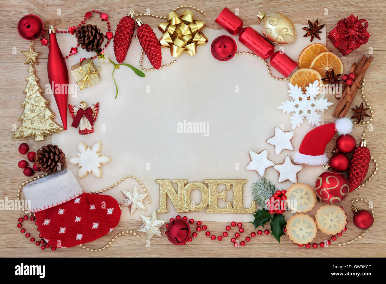 Decoration Biscuit Noel.Christmas Abstract Background Border With Noel Sign Tree